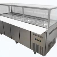 Four Door Refrigerated Showcase on Castors