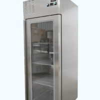 Single Glass Door Upright Fridge on Castors